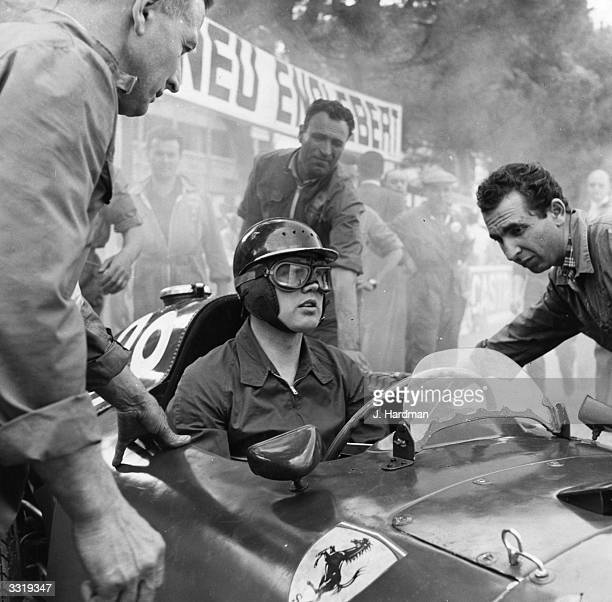 British racing driver Mike Hawthorn in his Ferrari during practice for the Monaco Grand Prix, May 1957.