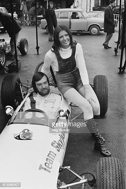 British racing driver Mike Wilds at Brands Hatch in Kent England with his wife 20th March 1971