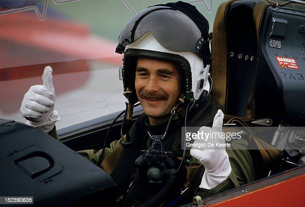 British racing driver Nigel Mansell after a flight with the Red Arrows aerobatic display team in UK on September 13 1986
