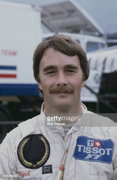 British racing driver Nigel Mansell driver of the John Player Team Lotus Lotus 87 Ford Cosworth DFV 30 V8 posed during the 1981 British Grand Prix at...