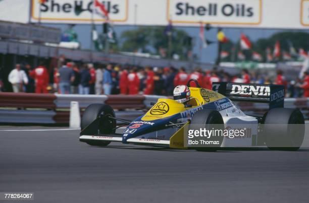 British racing driver Nigel Mansell drives the Canon Williams Honda Williams FW10 Honda RA164E 15 V6t in the 1985 British Grand Prix at Silverstone...