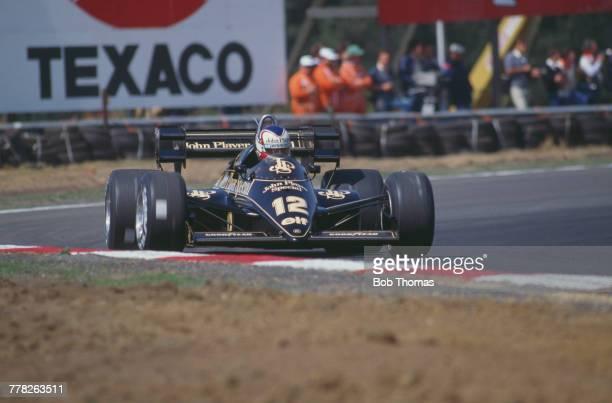 British racing driver Nigel Mansell drives the John Player Special Team Lotus Lotus 95T Renault EF4B 15 V6t in the 1984 Belgian Grand Prix at Circuit...