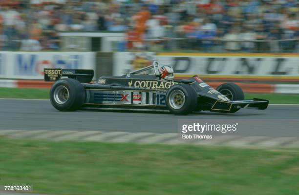 British racing driver Nigel Mansell drives the John Player Team Lotus Lotus 87 Ford Cosworth DFV 30 V8 during qualification for the 1981 British...
