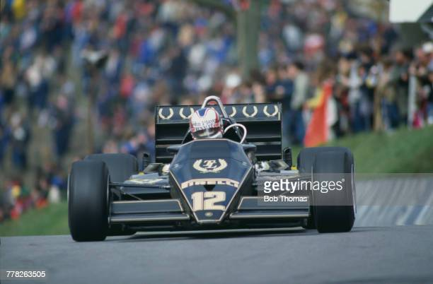 British racing driver Nigel Mansell drives the John Player Team Lotus Lotus 93T Renault EF1 15 V6t in the 1983 Race of Champions at Brands Hatch...