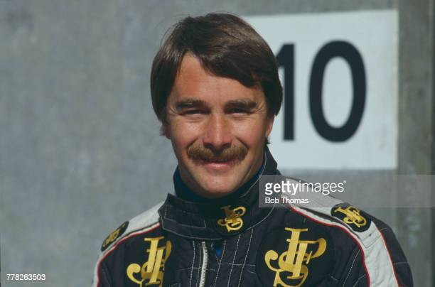 British racing driver Nigel Mansell of John Player Team Lotus pictured at a race circuit during the 1983 FIA Formula One World Championship season in...