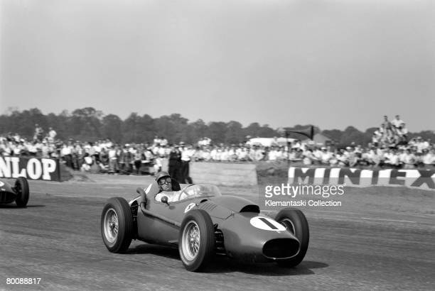 British racing driver Peter Collins in his Ferrari during the British Grand Prix at Silverstone 19th July 1958 Collins won the race his last before...