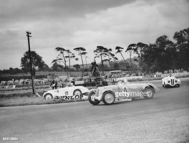 British racing driver Richard Seaman comes off the track at Melbourne Corner in a Frazer Nash BMW during the RAC TT race at Donington Park 4th...