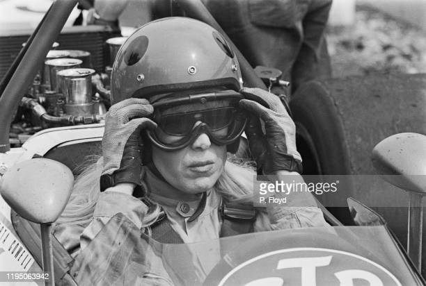 British racing driver, Roberta Cowell , in the cockpit of a Kitchmac M10B Formula 5000 racing car during testing at Silverstone Circuit in...