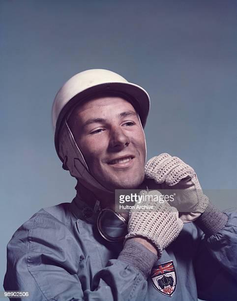 British racing driver Stirling Moss circa 1955 He is wearing the badge of the British Racing Drivers' Club