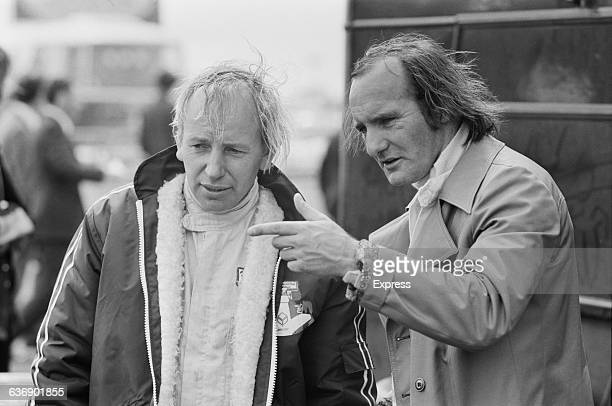 British racing drivers John Surtees and Mike Hailwood practise for the Daily Express International Trophy at Silverstone, UK, 6th May 1971.