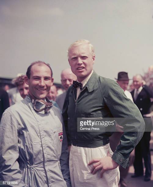 British Racing drivers Stirling Moss left and Mike Hawthorn at Silverstone for the British Grand Prix July 1958