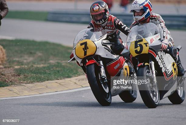 British racing motorcyclist Barry Sheene and Marco Lucchinelli of Italy competing in the 500cc race at the Austrian Grand Prix at the Salzburgring...