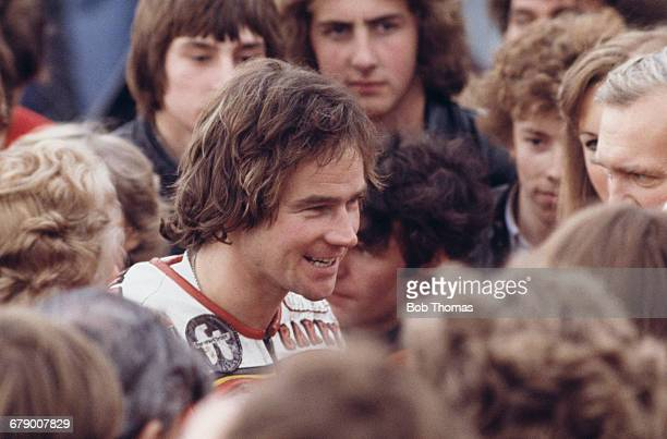 British racing motorcyclist Barry Sheene at a race meeting circa 1978