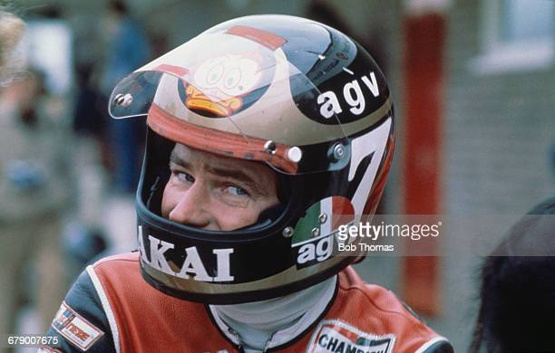 British racing motorcyclist Barry Sheene at a race meeting circa 1980