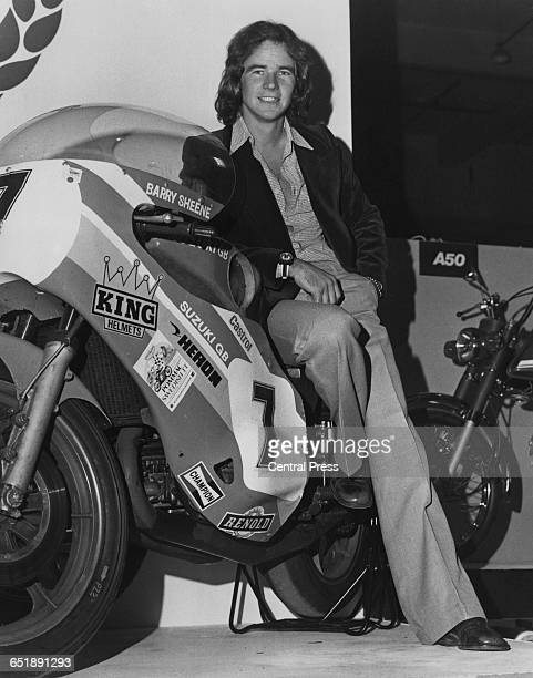 British racing motorcyclist Barry Sheene at the Motorcycle Show with his 750cc Heron Suzuki Earl's Court London 29th August 1975