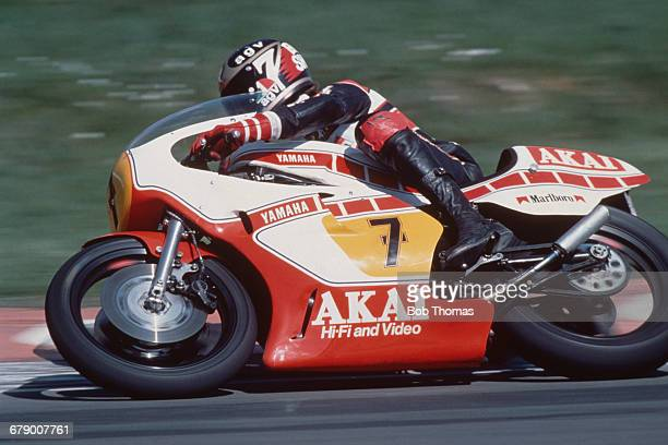 British racing motorcyclist Barry Sheene competing on a 750cc Yamaha circa 1980
