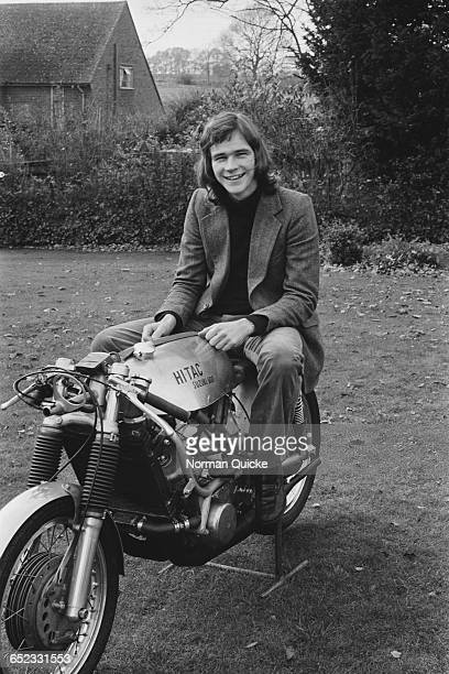 British racing motorcyclist Barry Sheene on a HiTac Suzuki T500 motorcycle 25th November 1971 The machine is the work of constructor Colin Seeley