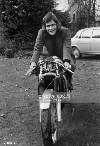 British racing motorcyclist Barry Sheene on a HiTac Suzuki T500 motorcycle UK 25th November 1971 The machine is the work of constructor Colin Seeley