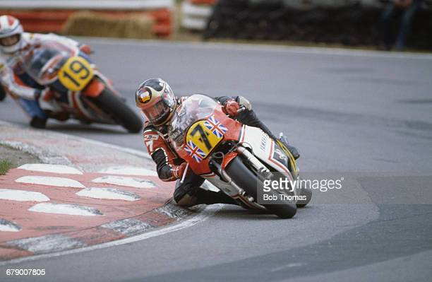 British racing motorcyclist Barry Sheene riding a Yamaha 500 during the Transatlantic Trophy meeting at Brands Hatch Kent 9th April 1982