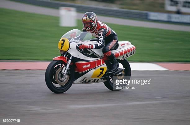 British racing motorcyclist Barry Sheene riding a Yamaha 750 at the International Motorcycle Gold Cup meeting at Donington Park Circuit in Donington...