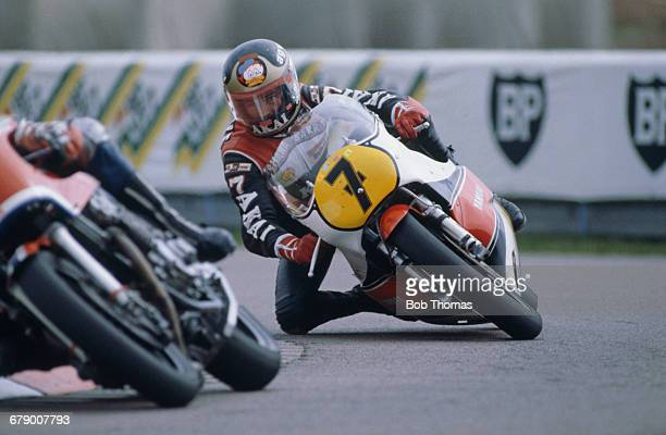 British racing motorcyclist Barry Sheene riding a Yamaha 750 at the International Motorcycle Gold Cup meeting at Donington Park Circuit in Donington...