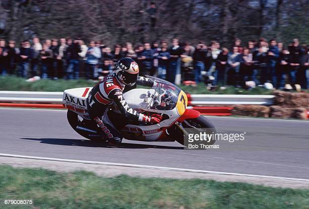 British racing motorcyclist Barry Sheene riding a Yamaha TZ750 circa 1980