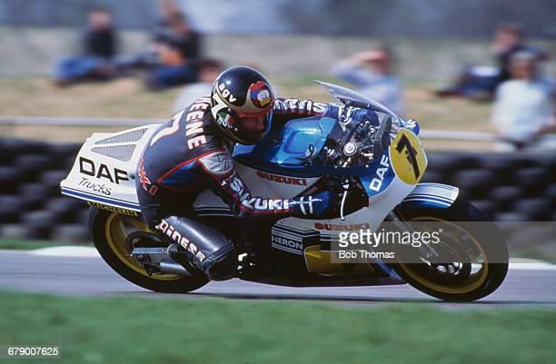 British racing motorcyclist Barry Sheene riding the Heron DAF Suzuki 500cc during the XIV TransAtlantic Challenge Motorcycle races at the Donington...