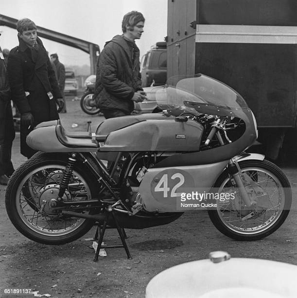 British racing motorcyclist Barry Sheene with a pair of racing Bultacos owned by his father Frank 7th March 1969