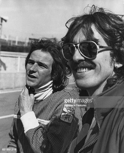 British racing motorcyclist Barry Sheene with his friend former Beatle George Harrison at the Brands Hatch racing circuit in Kent 25th April 1978...