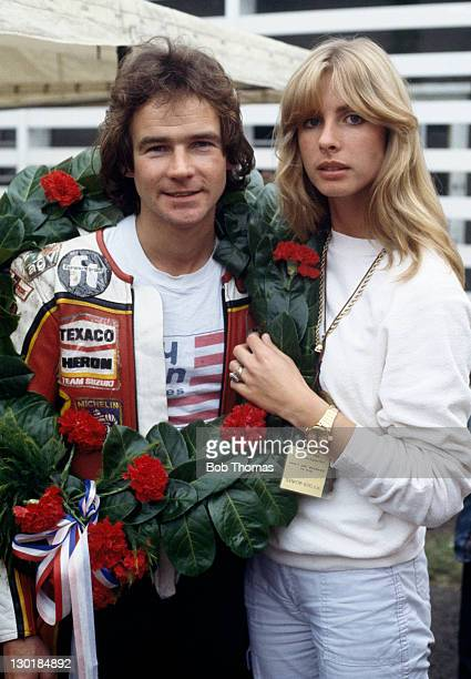 British racing motorcyclist Barry Sheene with his girlfriend Stephanie McLean at the International Motor Cycle Races Oulton Park Cheshire 28th August...