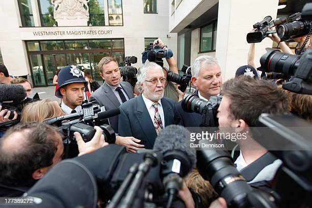 British radio and television presenter Dave Lee Travis leaves The City of Westminster Magistrates Court on August 23, 2013 in London, England. Travis...