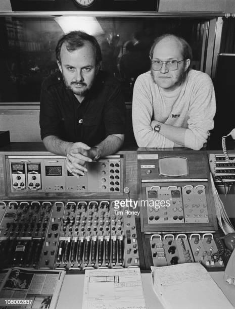 British radio disc jockey John Peel and his producer at BBC Radio 1 Trevor Dann London 14th September 1983