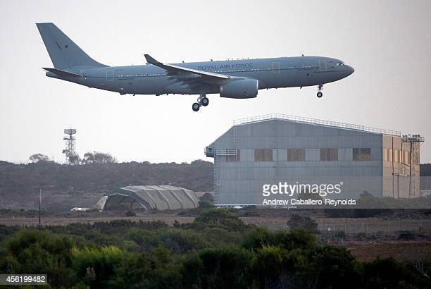 British RAF refueling tanker prepares to land on an airstrip at RAF Akrotiri after returning from a mission over Iraq on September 27 2014 in...