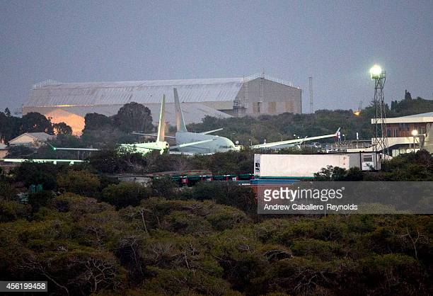 British RAF refueling tankers are parked near a hanger at RAF Akrotiri after returning from a mission over Iraq on September 27 2014 in Limassol...