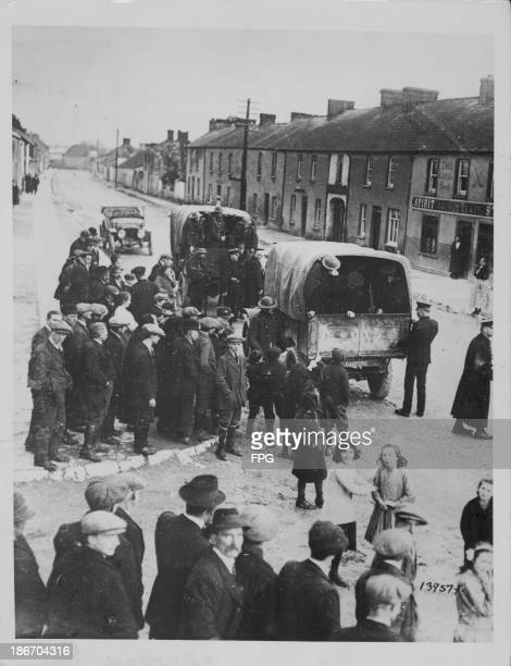 A British raid on an Irish police station in Carrigtwohill in an attempt to quell a Sinn Fein uprising Cork Ireland circa 19151925