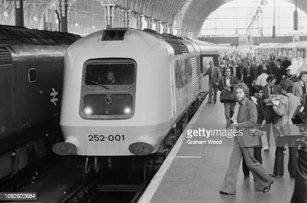 British Rail Class 252, prototype High Speed Train unit, at London Paddington station, London, UK, 5th May 1975.