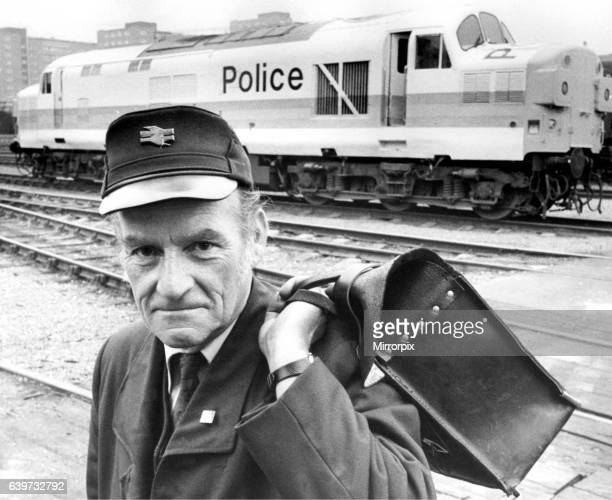 """British Rail driver Peter Higgins with the """"police train"""" on 26th July 1985 which was used in a television commercial."""