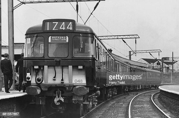 British Rail Electric Multiple Unit Passenger train on a demonstration run through Watford Junction on 23 August 1965 at Watford Junction, London,...