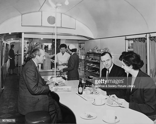 British Rail interior of a standard buffett car, 1954.