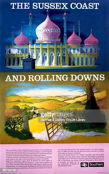 British Rail showing the Brighton Pavilion and an idyllic view of the South Downs Artwork by Lander