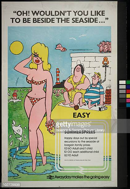 British Railway Poster Oh Wouldn't you like to be beside the seaside ' White background seaside drawing summer sprees happy days out by special...