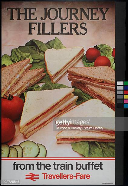 British Railway Poster. Travellers-Fare. The journey Fillers from the train Buffet, 1981.