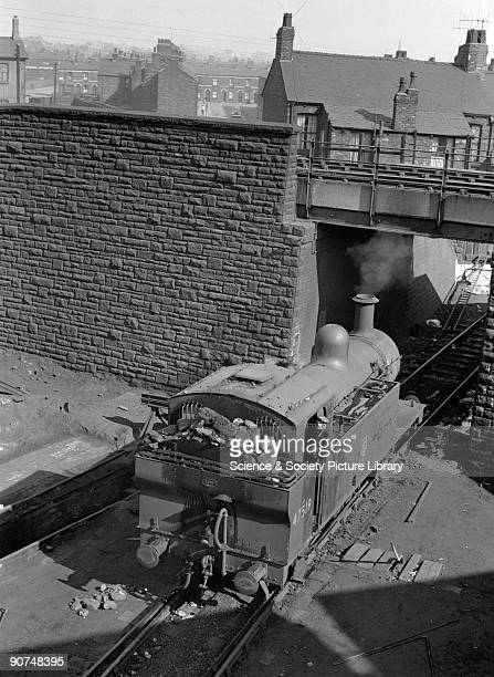 British Railways Class 3F 060T shunting locomotive No 47519 at Edge Hill engine shed in Liverpool Merseyside 1950s This steam locomotive was built in...