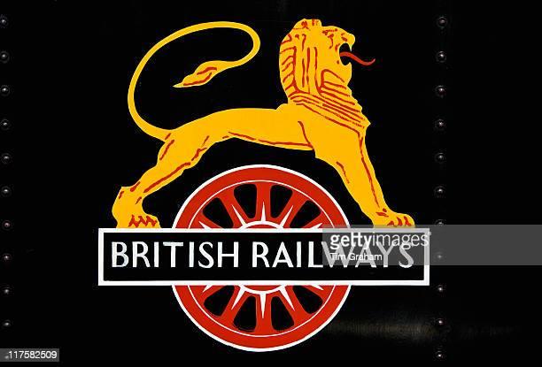 British Railways logo on vintage steam engine at Toddington Gloucestershire
