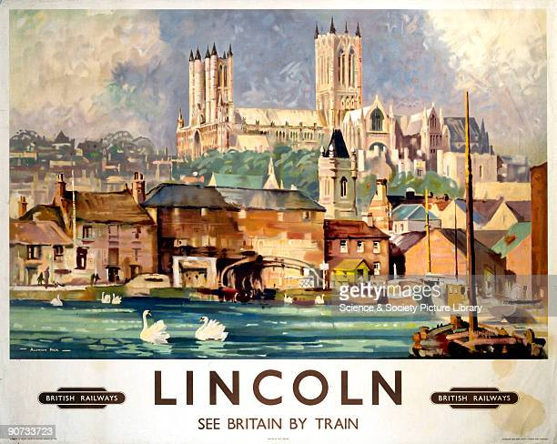 British Railways poster of Lincoln with Lincoln Cathedral in the background