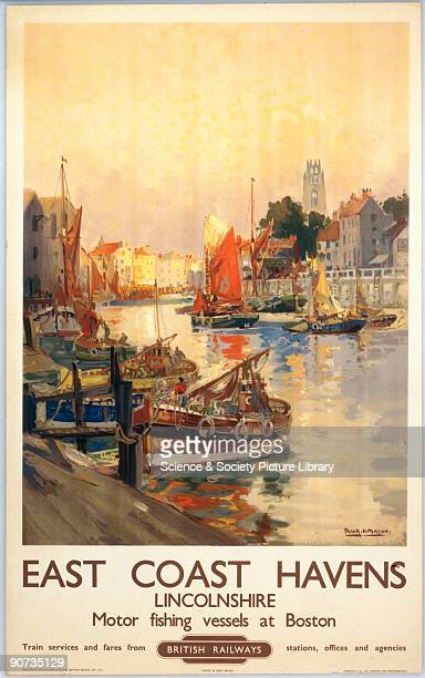 British Railways poster showing motor fishing vessels at Boston Lincolnshire designed by Frank H Mason Printed by Jordison Co Ltd London and...