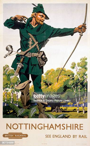 British Railways poster showing Robin Hood in Sherwood Forest Artwork by Frank Newbould Newbold studied at Bradford College of Art and joined the War...