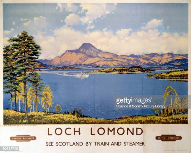 British Railways poster showing the steamer �Maid of the Loch� on Loch Lomond with mountains in the background Artwork by Macfarlane