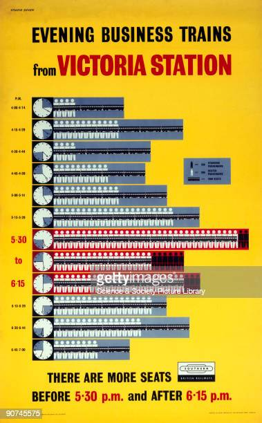 British Railways poster , with several bar charts illustrating rush-hour crowding. Passengers are encouraged to travel before 5.30 and after 6.15 pm...