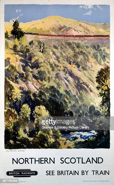 British Railways showing countryside near Invershin Sutherland Artwork Jack Merriott Printed by Stafford Co Ltd Netherfield Nottingham 1016 x 634 mm